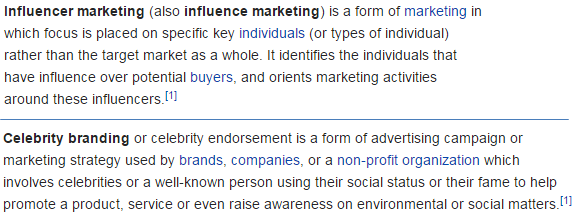 Influence marketing & Celebrity branding via wikipedia